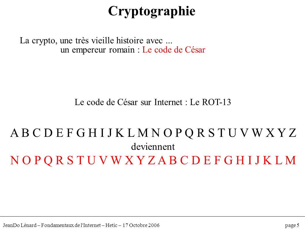 Cryptographie A B C D E F G H I J K L M N O P Q R S T U V W X Y Z