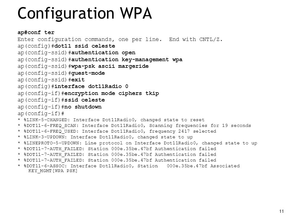 Configuration WPA ap#conf ter