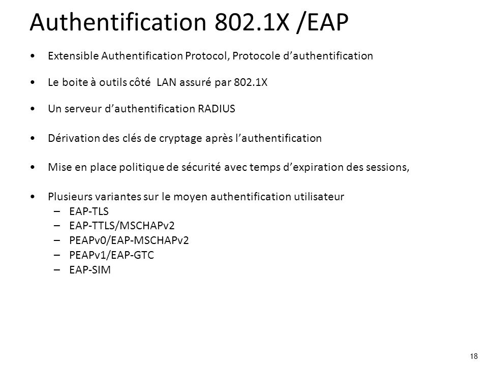 Authentification 802.1X /EAP