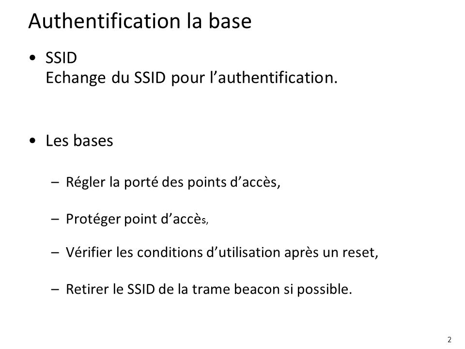 Authentification la base