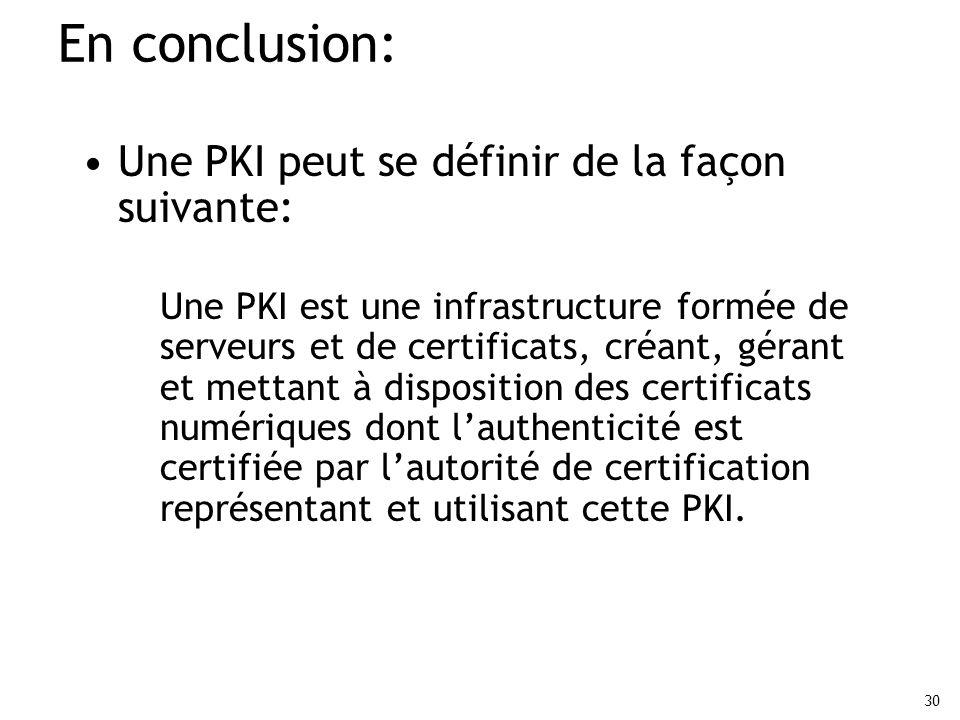 En conclusion: Une PKI peut se définir de la façon suivante: