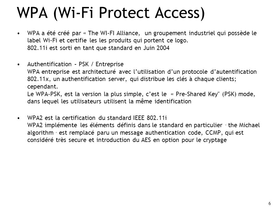 WPA (Wi-Fi Protect Access)