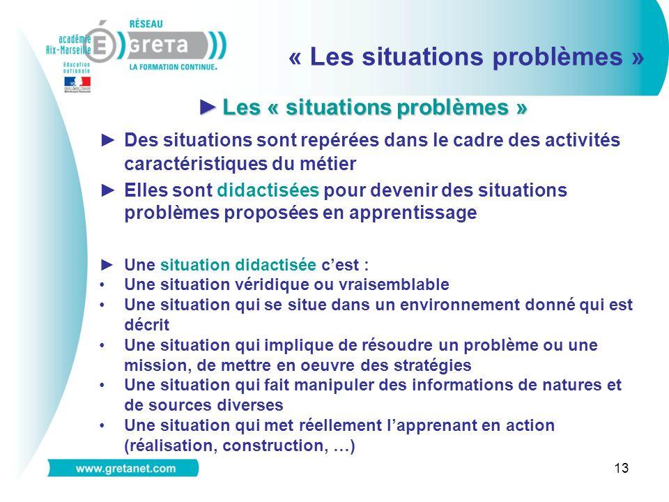 Les « situations problèmes »