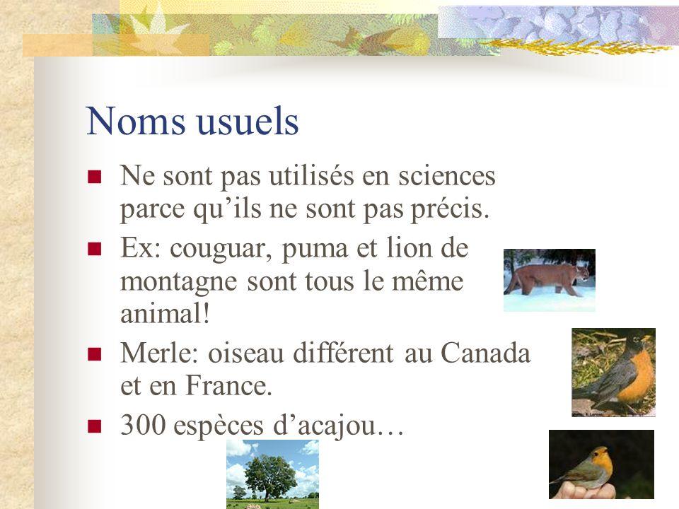 Noms usuels Ne sont pas utilisés en sciences parce qu'ils ne sont pas précis. Ex: couguar, puma et lion de montagne sont tous le même animal!