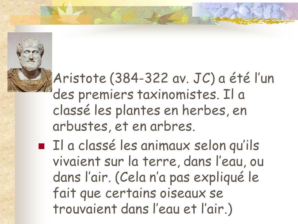 Aristote (384-322 av. JC) a été l'un des premiers taxinomistes