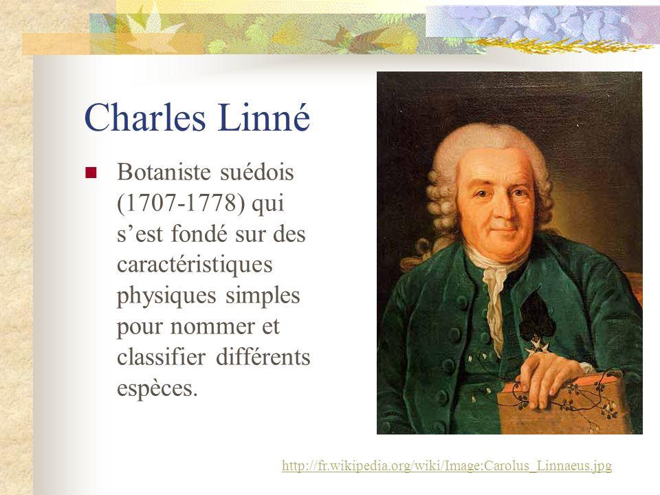 Charles Linné Botaniste suédois (1707-1778) qui s'est fondé sur des caractéristiques physiques simples pour nommer et classifier différents espèces.