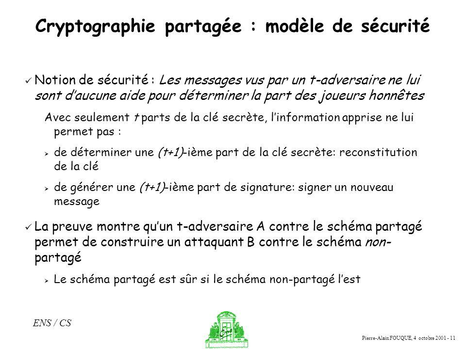 Cryptographie partagée : modèle de sécurité