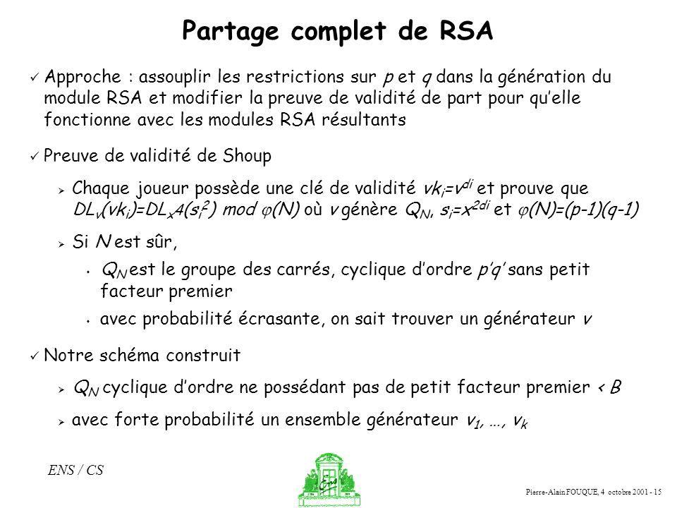 Partage complet de RSA