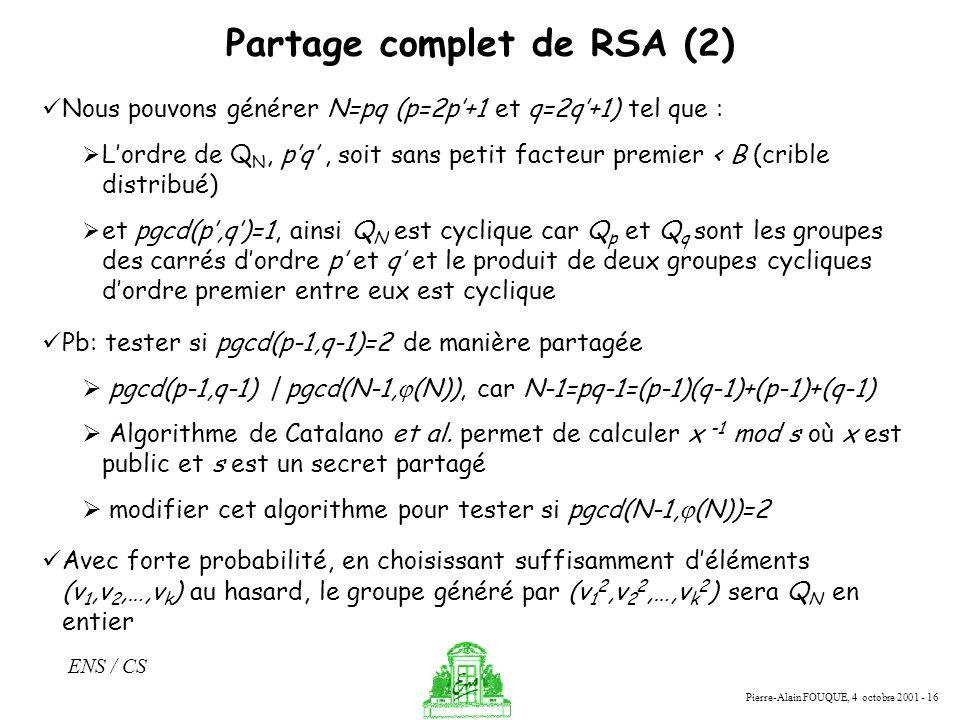 Partage complet de RSA (2)