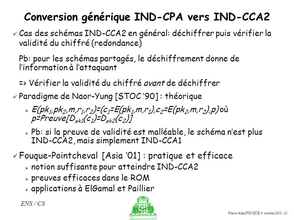 Conversion générique IND-CPA vers IND-CCA2