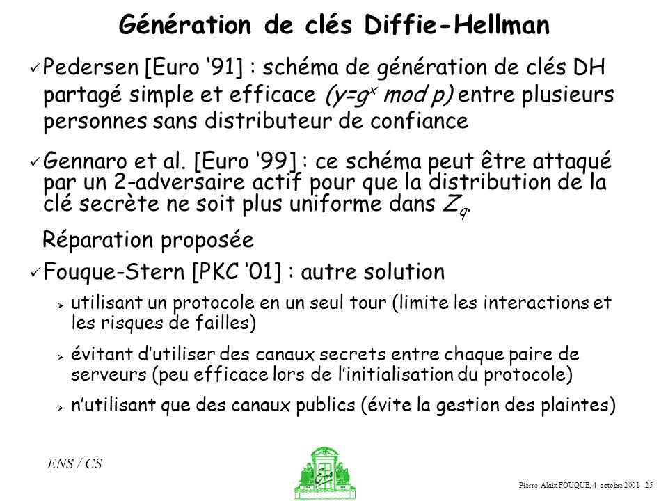 Génération de clés Diffie-Hellman