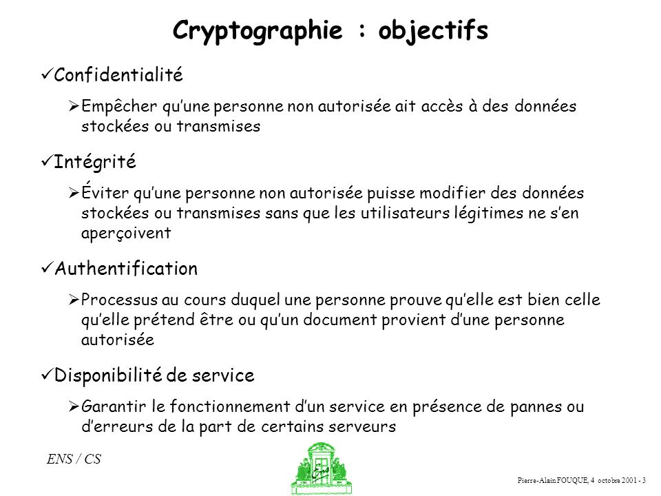 Cryptographie : objectifs