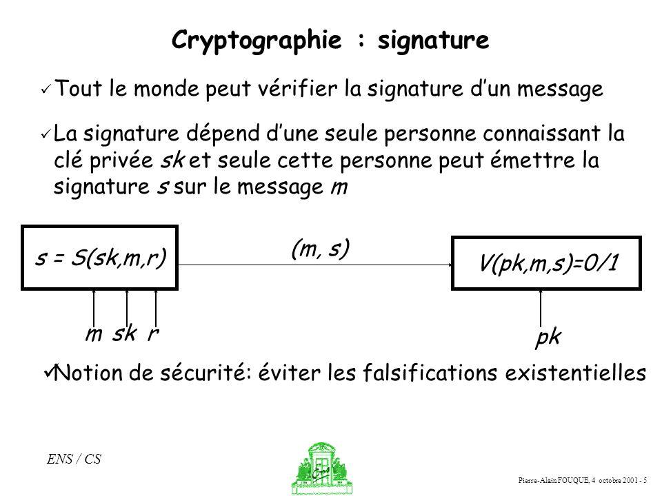 Cryptographie : signature