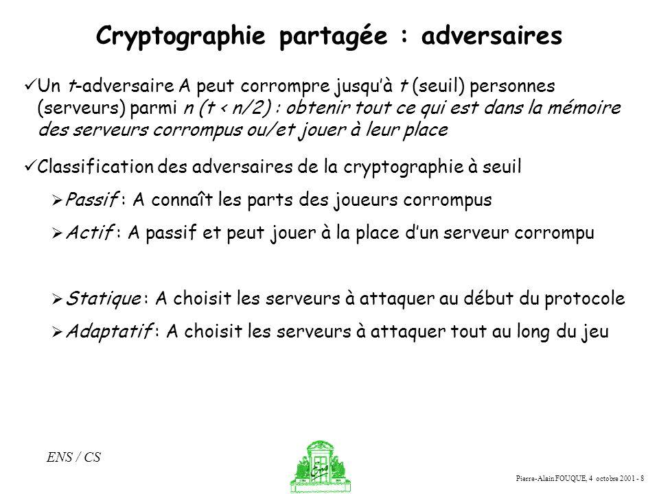 Cryptographie partagée : adversaires
