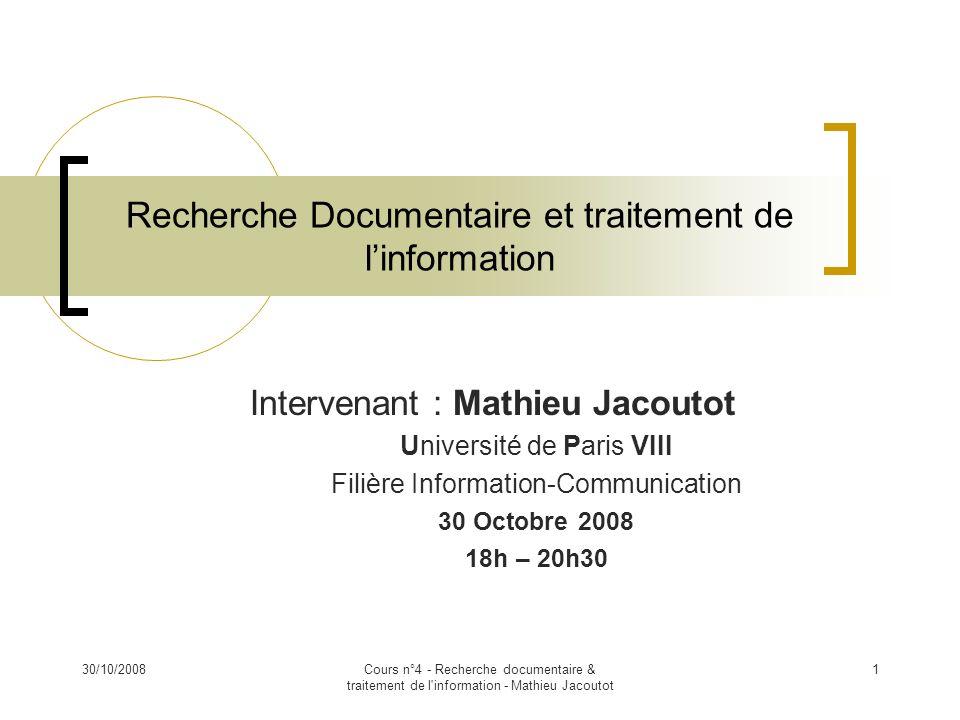 Recherche Documentaire et traitement de l'information