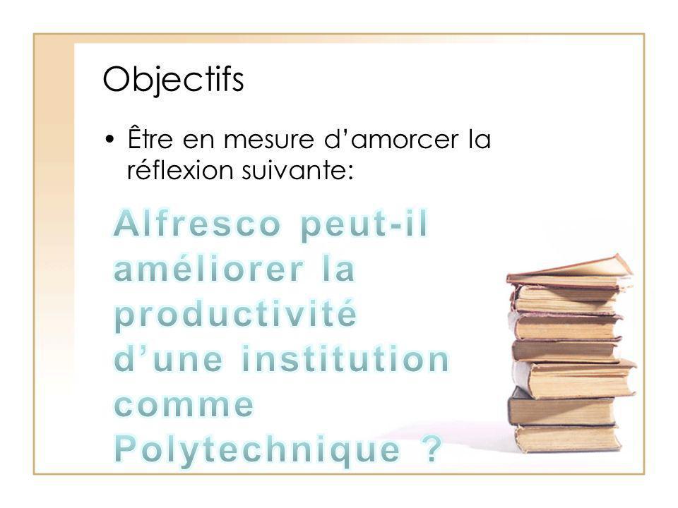 Objectifs Être en mesure d'amorcer la réflexion suivante: Alfresco peut-il améliorer la productivité d'une institution comme Polytechnique