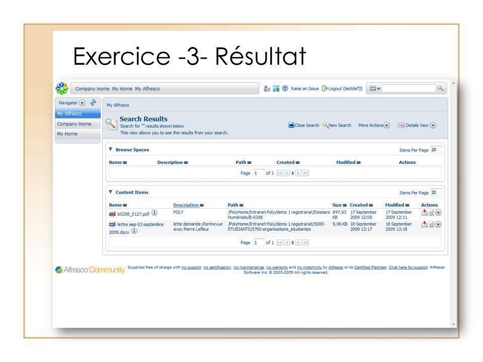 Exercice -3- Résultat