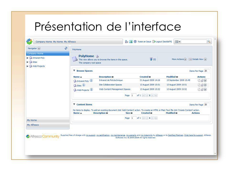 Présentation de l'interface