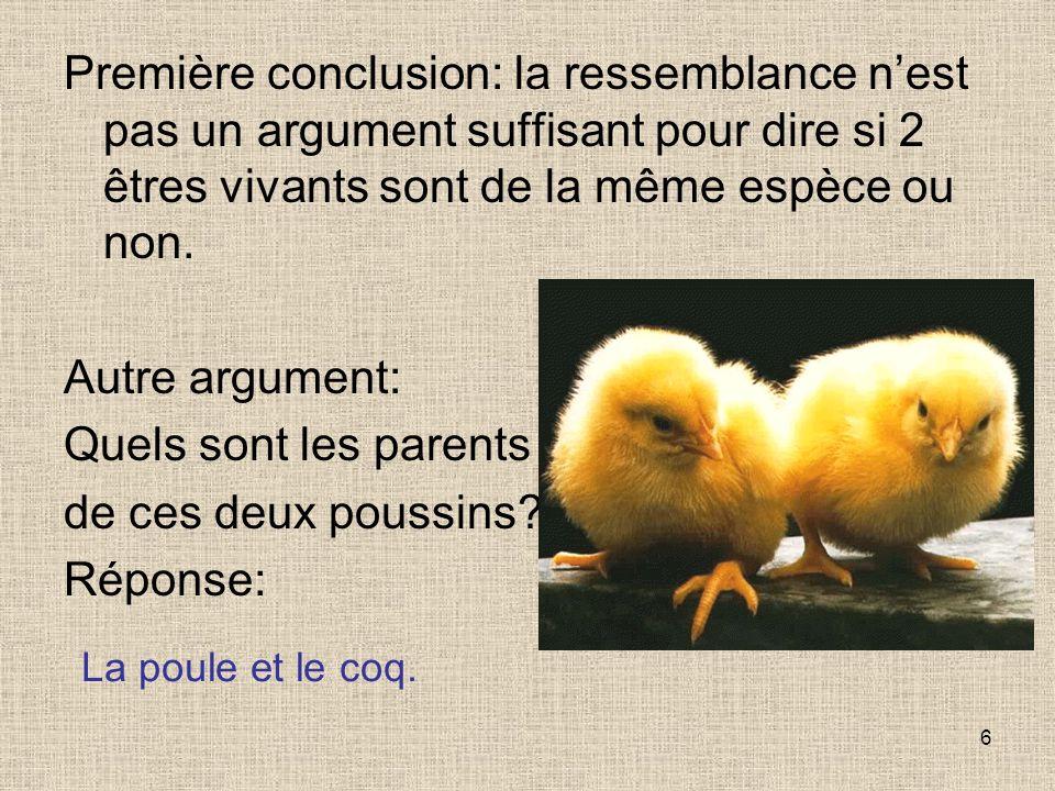 Première conclusion: la ressemblance n'est pas un argument suffisant pour dire si 2 êtres vivants sont de la même espèce ou non.