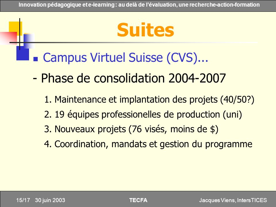 Suites Campus Virtuel Suisse (CVS)...
