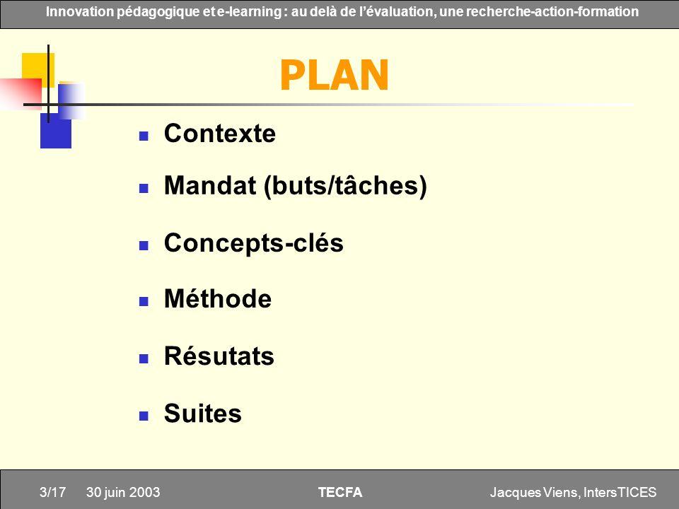 PLAN Contexte Mandat (buts/tâches) Concepts-clés Méthode Résutats