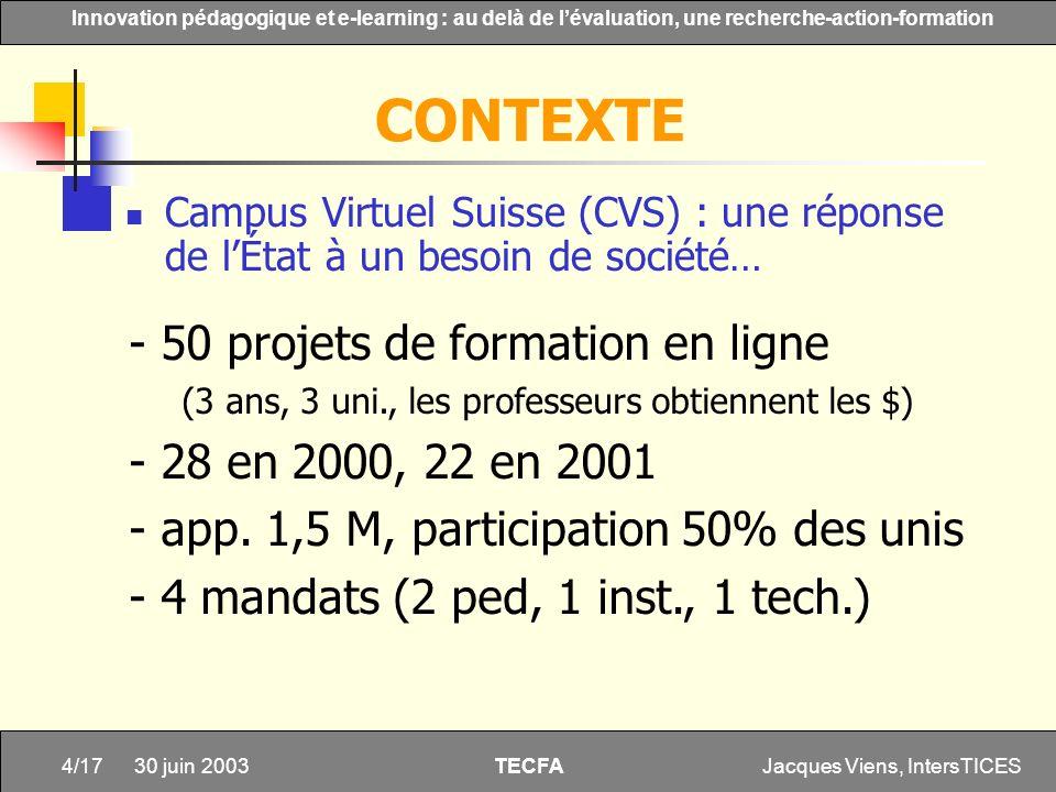 CONTEXTE - 50 projets de formation en ligne - 28 en 2000, 22 en 2001