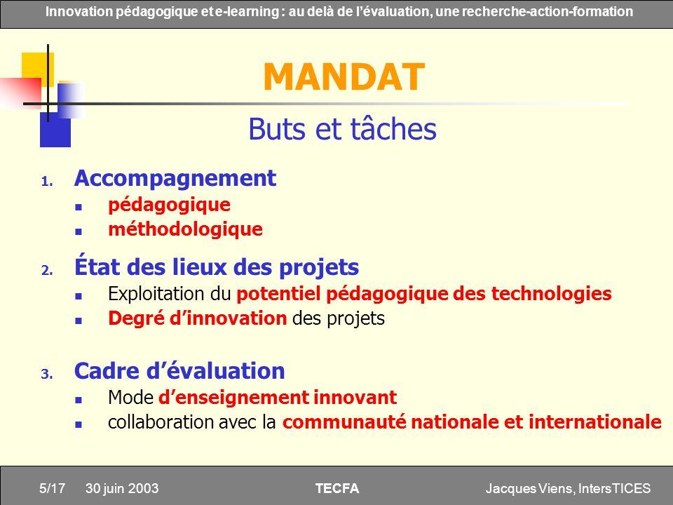 MANDAT Buts et tâches Accompagnement État des lieux des projets