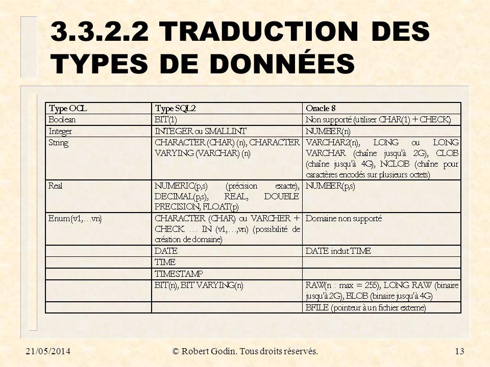 3.3.2.2 TRADUCTION DES TYPES DE DONNÉES