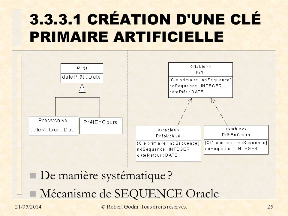 3.3.3.1 CRÉATION D UNE CLÉ PRIMAIRE ARTIFICIELLE