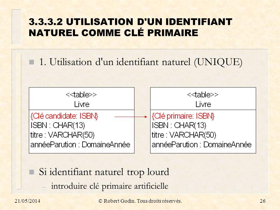 3.3.3.2 UTILISATION D UN IDENTIFIANT NATUREL COMME CLÉ PRIMAIRE