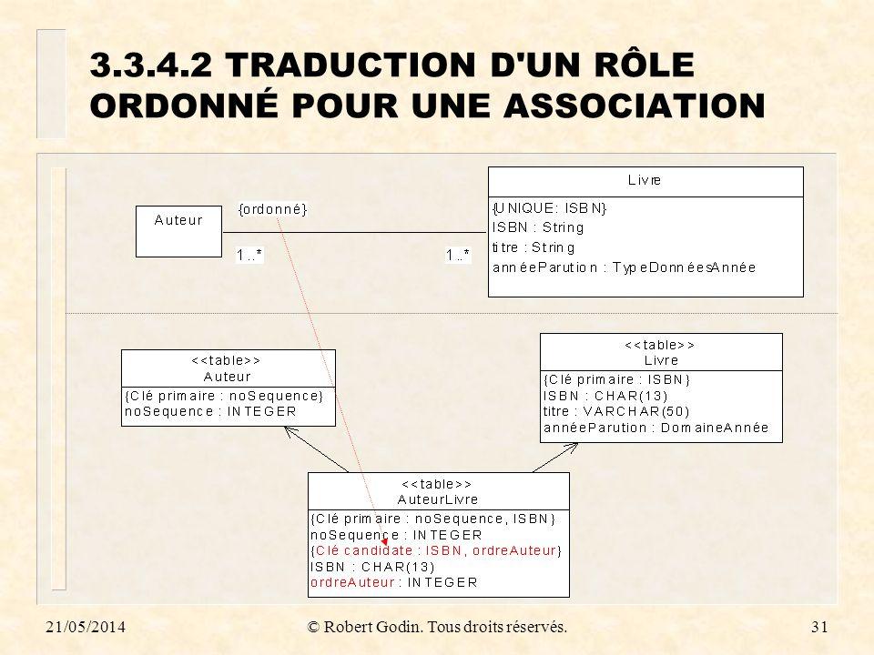 3.3.4.2 TRADUCTION D UN RÔLE ORDONNÉ POUR UNE ASSOCIATION