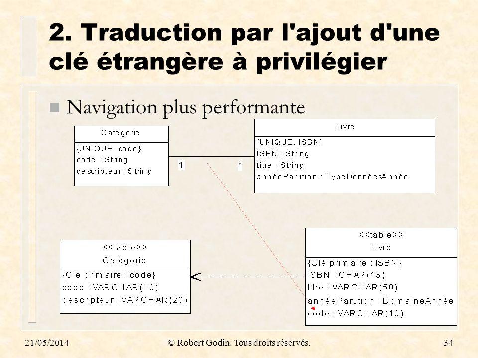 2. Traduction par l ajout d une clé étrangère à privilégier