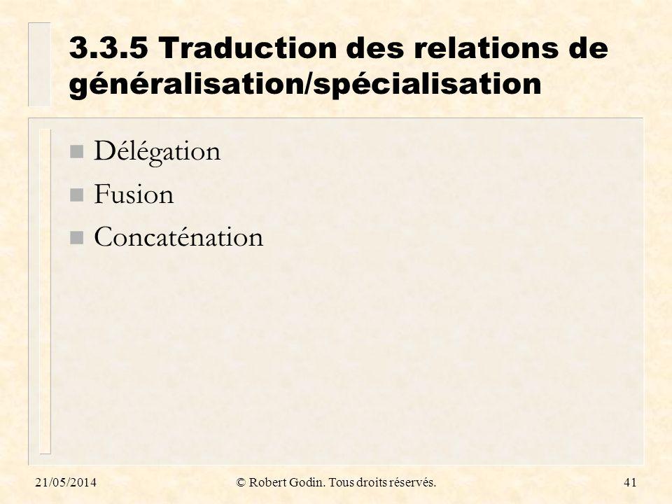 3.3.5 Traduction des relations de généralisation/spécialisation