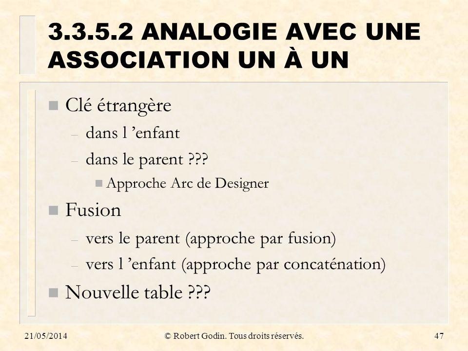 3.3.5.2 ANALOGIE AVEC UNE ASSOCIATION UN À UN
