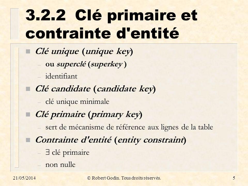3.2.2 Clé primaire et contrainte d entité
