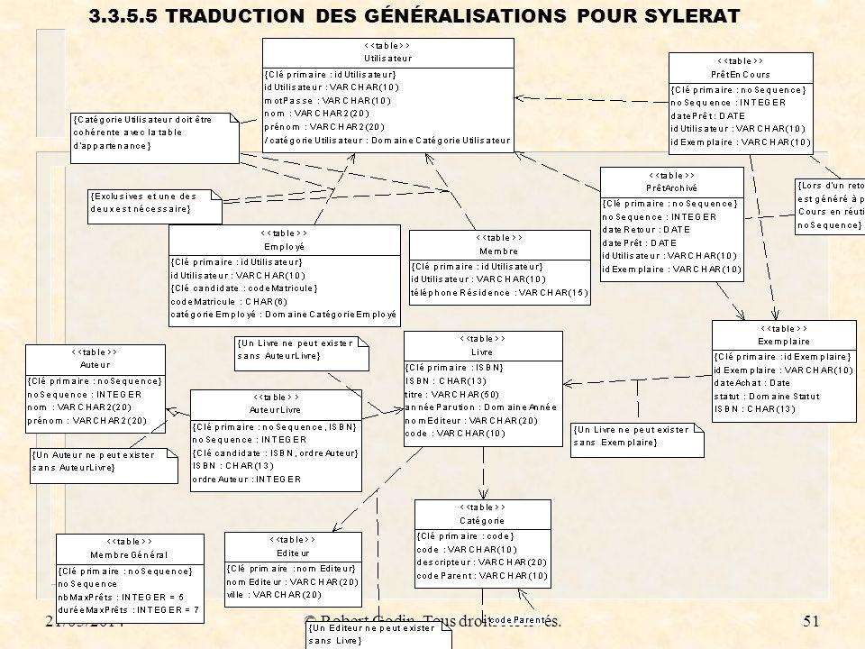 3.3.5.5 TRADUCTION DES GÉNÉRALISATIONS POUR SYLERAT
