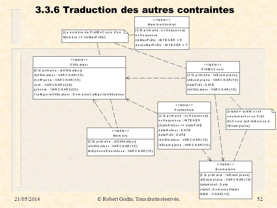 3.3.6 Traduction des autres contraintes