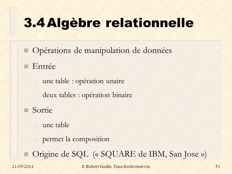3.4 Algèbre relationnelle