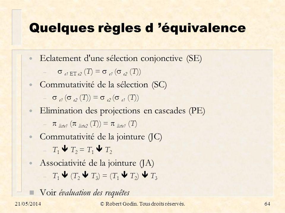 Quelques règles d 'équivalence