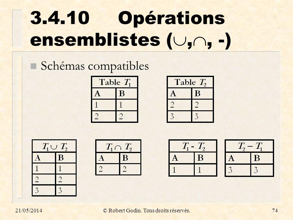 3.4.10 Opérations ensemblistes (,, -)