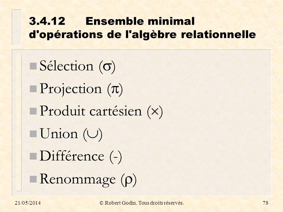 3.4.12 Ensemble minimal d opérations de l algèbre relationnelle