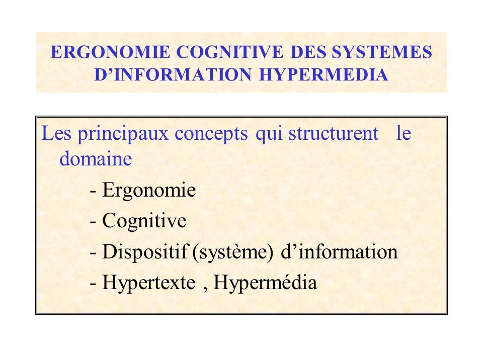ERGONOMIE COGNITIVE DES SYSTEMES D'INFORMATION HYPERMEDIA