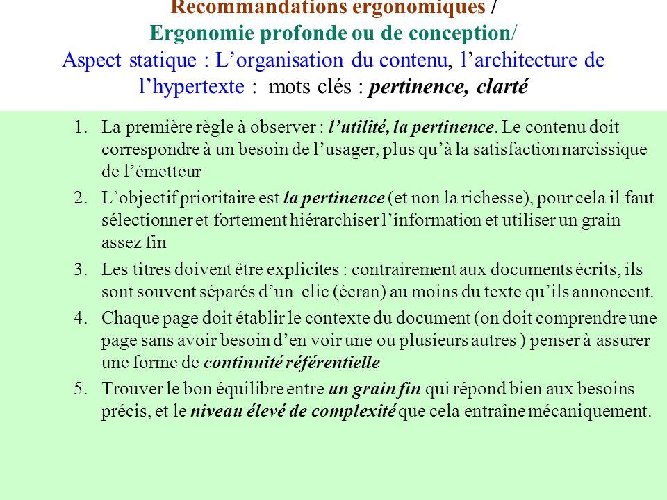 Recommandations ergonomiques / Ergonomie profonde ou de conception/ Aspect statique : L'organisation du contenu, l'architecture de l'hypertexte : mots clés : pertinence, clarté