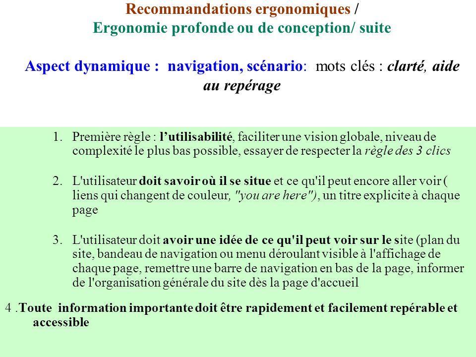 Recommandations ergonomiques / Ergonomie profonde ou de conception/ suite Aspect dynamique : navigation, scénario: mots clés : clarté, aide au repérage