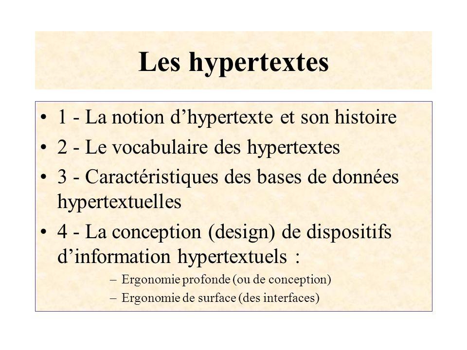 Les hypertextes 1 - La notion d'hypertexte et son histoire