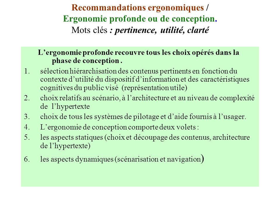 Recommandations ergonomiques / Ergonomie profonde ou de conception