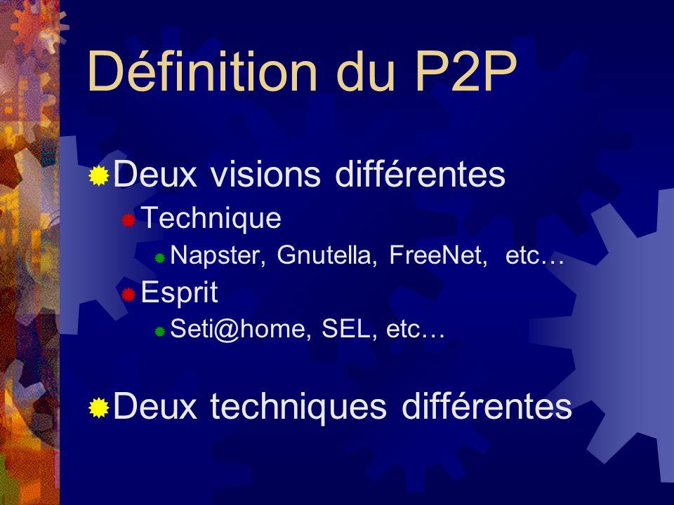 Définition du P2P Deux visions différentes Deux techniques différentes