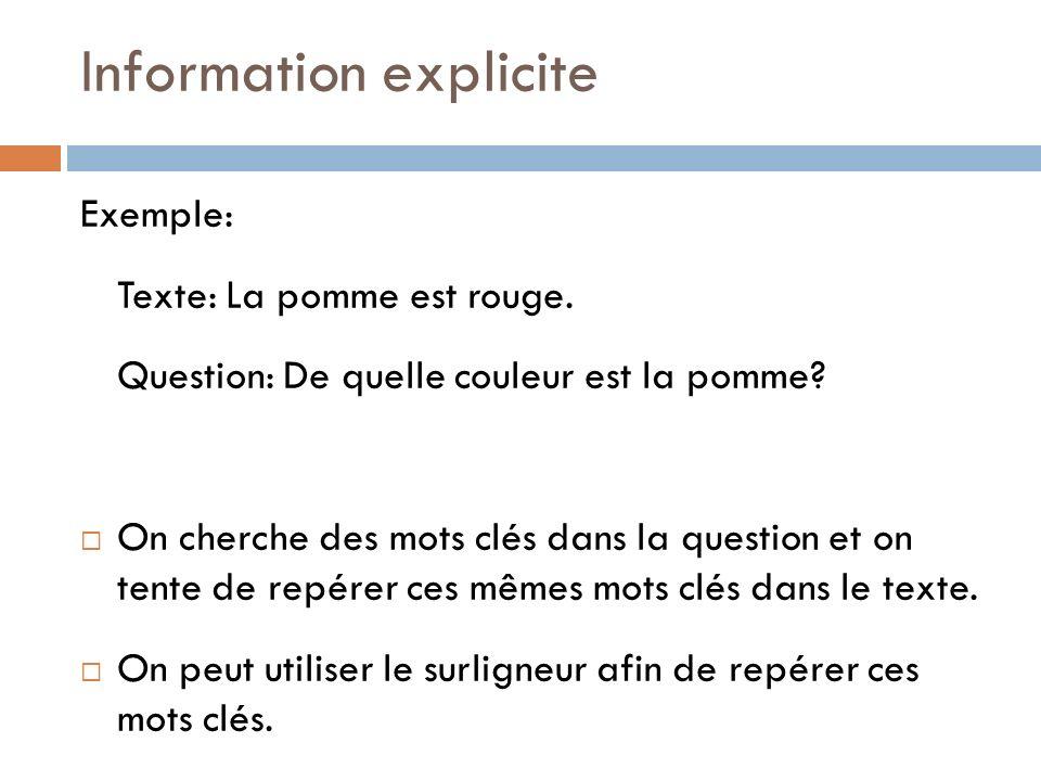 Information explicite