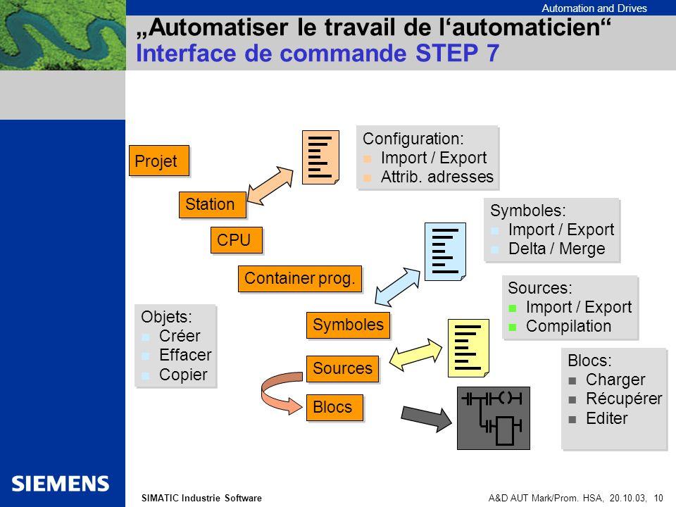 """""""Automatiser le travail de l'automaticien Interface de commande STEP 7"""