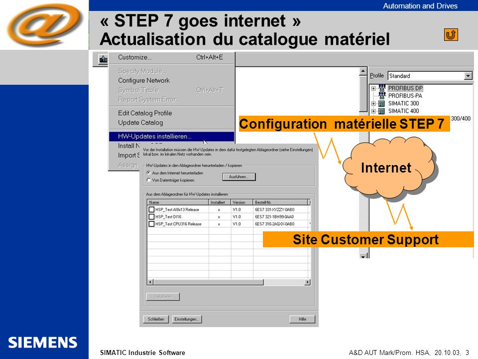 « STEP 7 goes internet » Actualisation du catalogue matériel